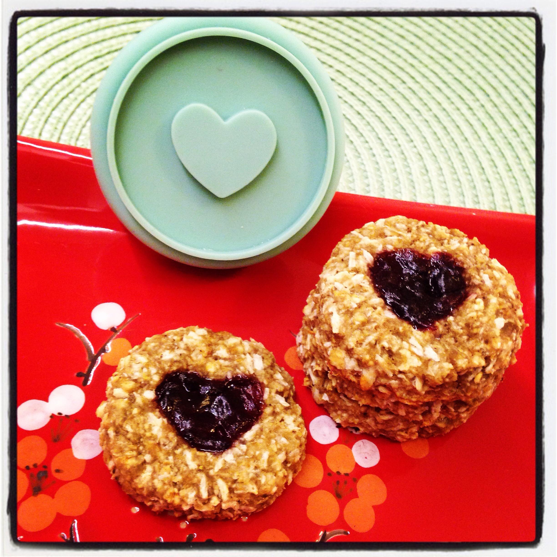 Havrecookies med sylthjärta